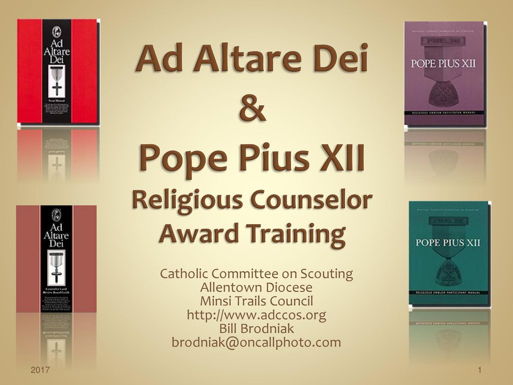 Ad Altare Dei & Pope Pius XII Religious Counselor Award Training