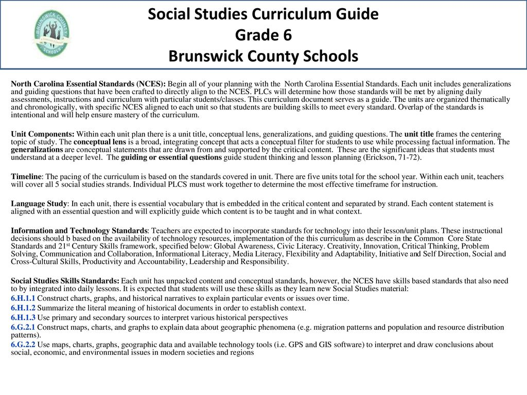Brunswick County Schools Curriculum Guide 6th Grade Social Studies