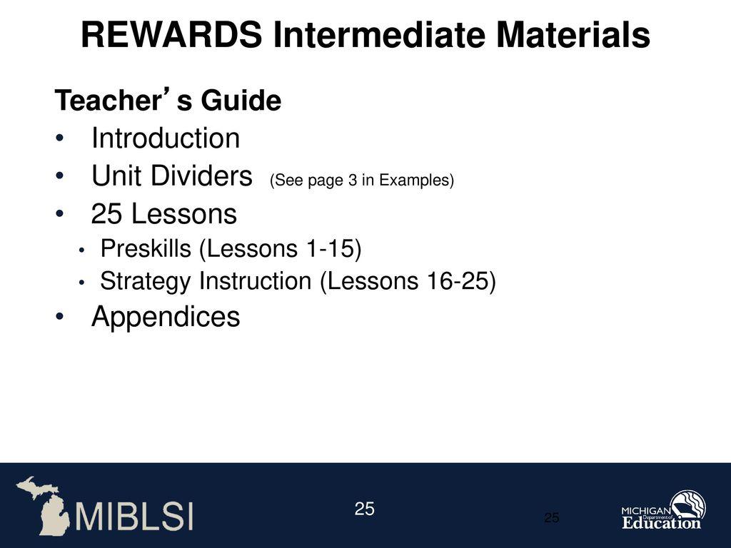 REWARDS Intermediate Materials