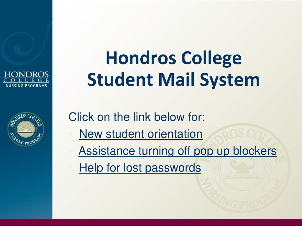hondros student portal Hondros College Student Mail System - ppt download
