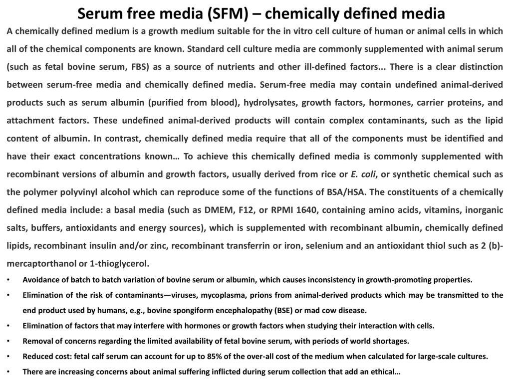 Serum free media (SFM) – chemically defined media