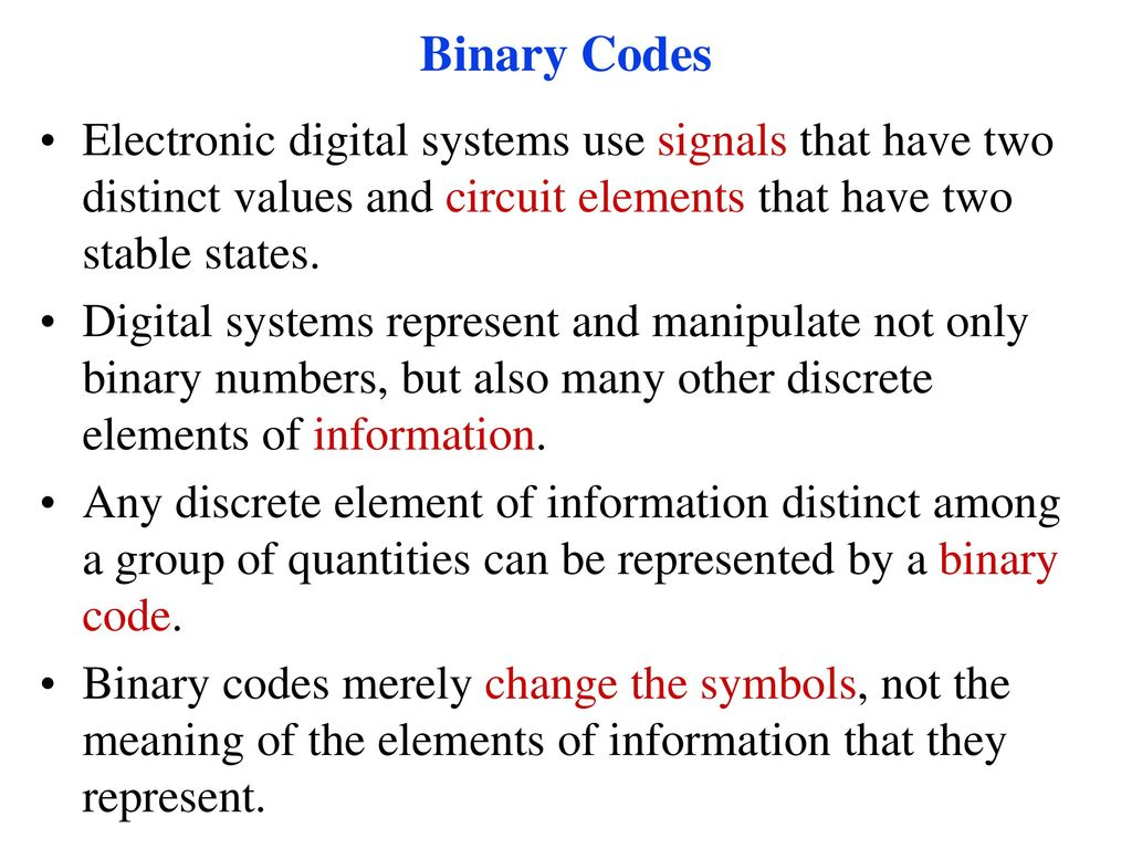 Binary Codes Ppt Download