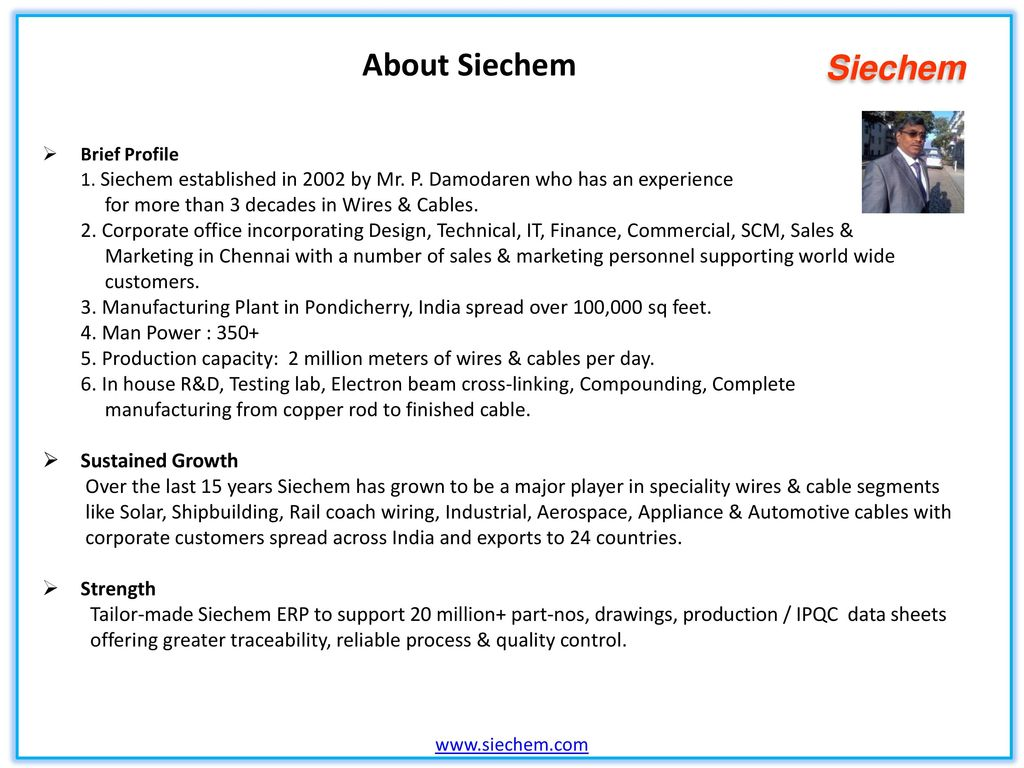 Indias No 1 Speciality Wires Cables Manufacturer Ppt Video Uvw Ametek 9 Wire Motor Diagram About Siechem For More Than 3 Decades In