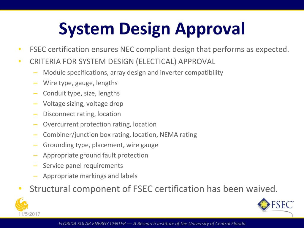Fsec Photovoltaic System Certification Process Ppt Download