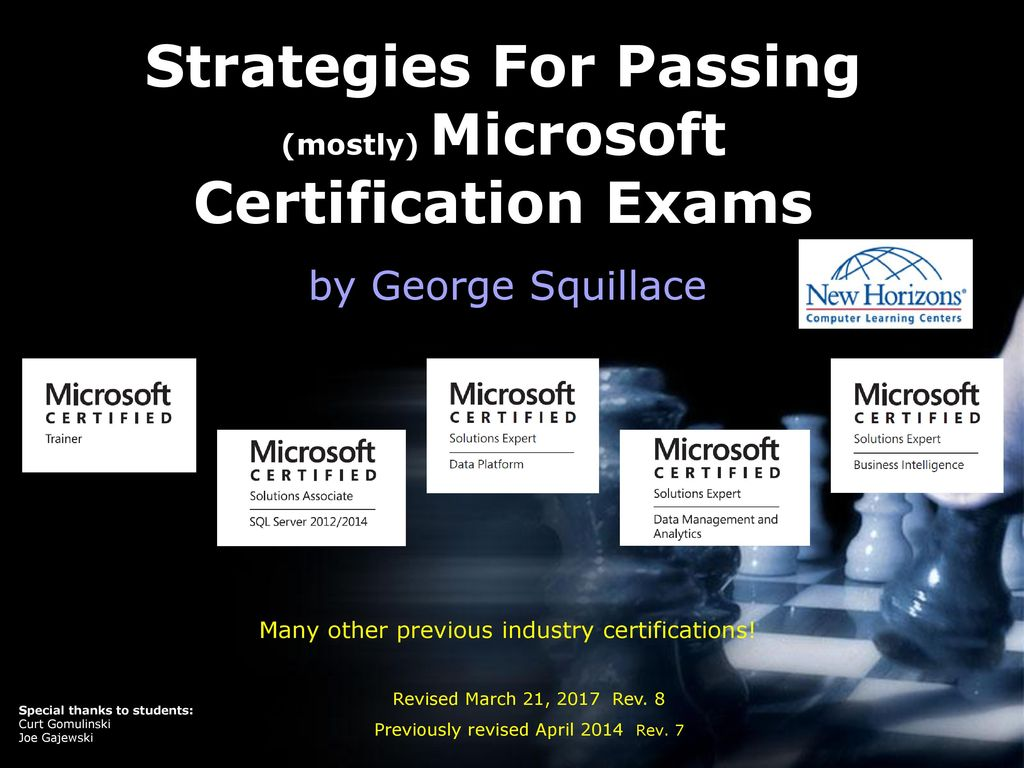 Strategies For Passing Mostly Microsoft Certification Exams Ppt