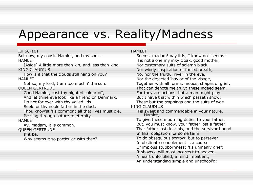 appearance vs. reality hamlet essay Essays and criticism on william shakespeare - appearance vs reality.