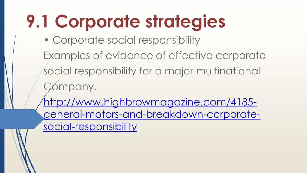 Hiearchical levels of strategy: corporate, business, departmental.