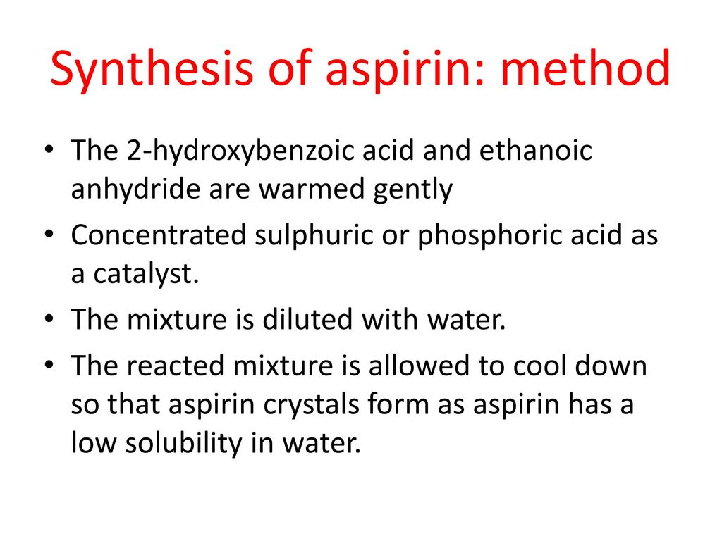 preparation and recrystallisation of aspirin biology essay Vinstan — the synthesis of aspirin the synthesis of aspirin because sulfuric acid was used instead of phosphoric acid as a catalyst to synthesize aspirin,.