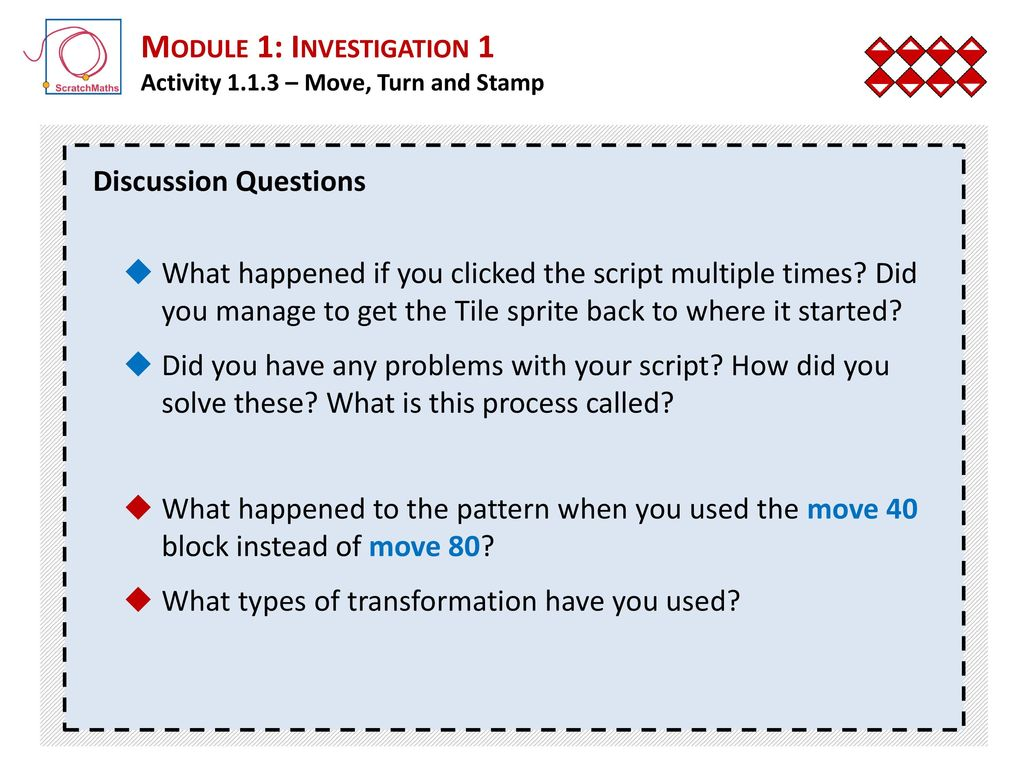 Module 1: Investigation 1 Moving, Turning and Stamping - ppt download