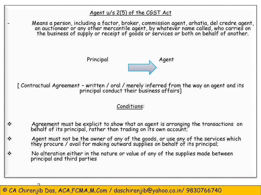 ... (GST) in India. 2 Agent ...