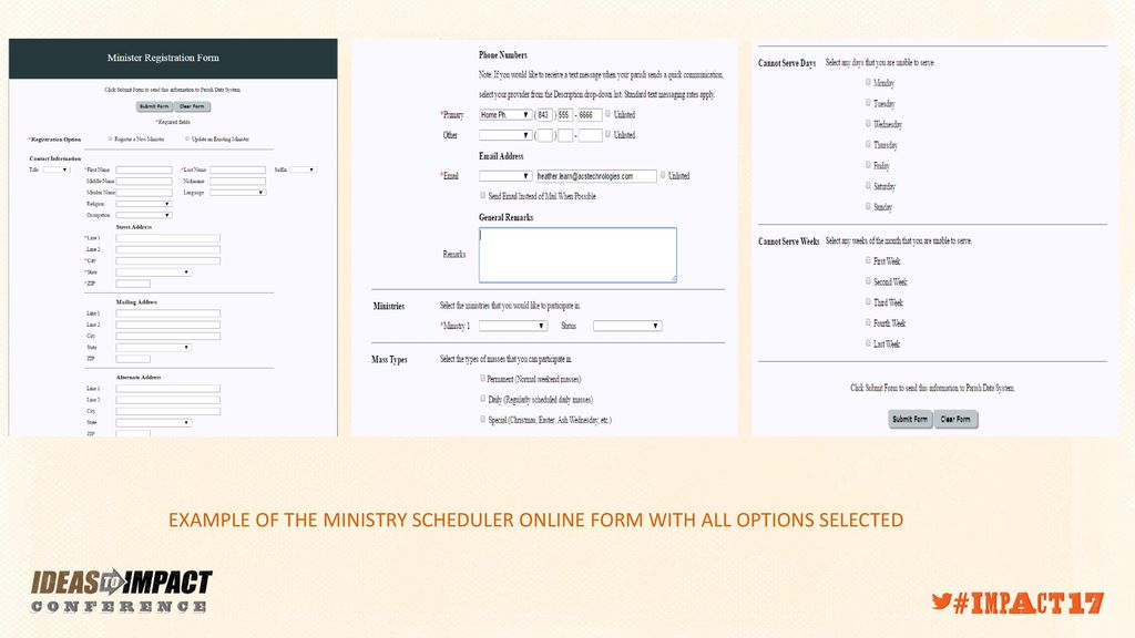 CHURCH OFFICE, FORMATION OFFICE, AND MINISTRY SCHEDULER ONLINE FORMS on ministry newsletters, ministry business cards, home clothing business forms, ministry flyers, ministry posters,