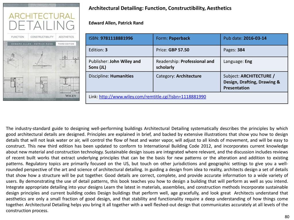 81 Architectural Detailing: Function, Constructibility, Aesthetics