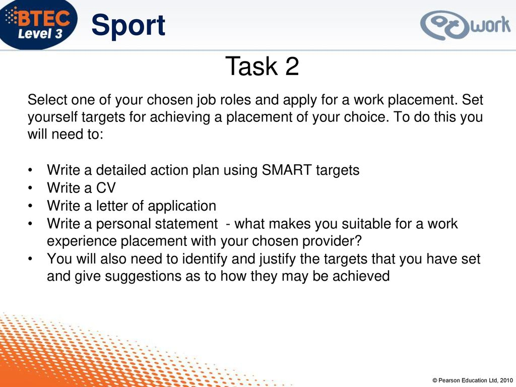Work experience in sport ppt download task 2 spiritdancerdesigns Gallery