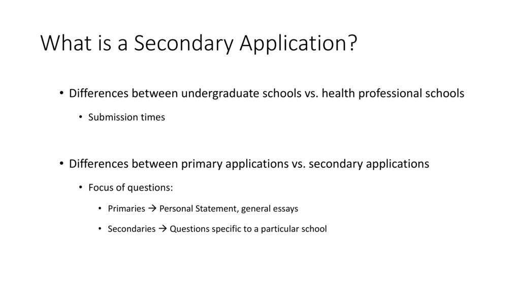 Secondary Applications - ppt download