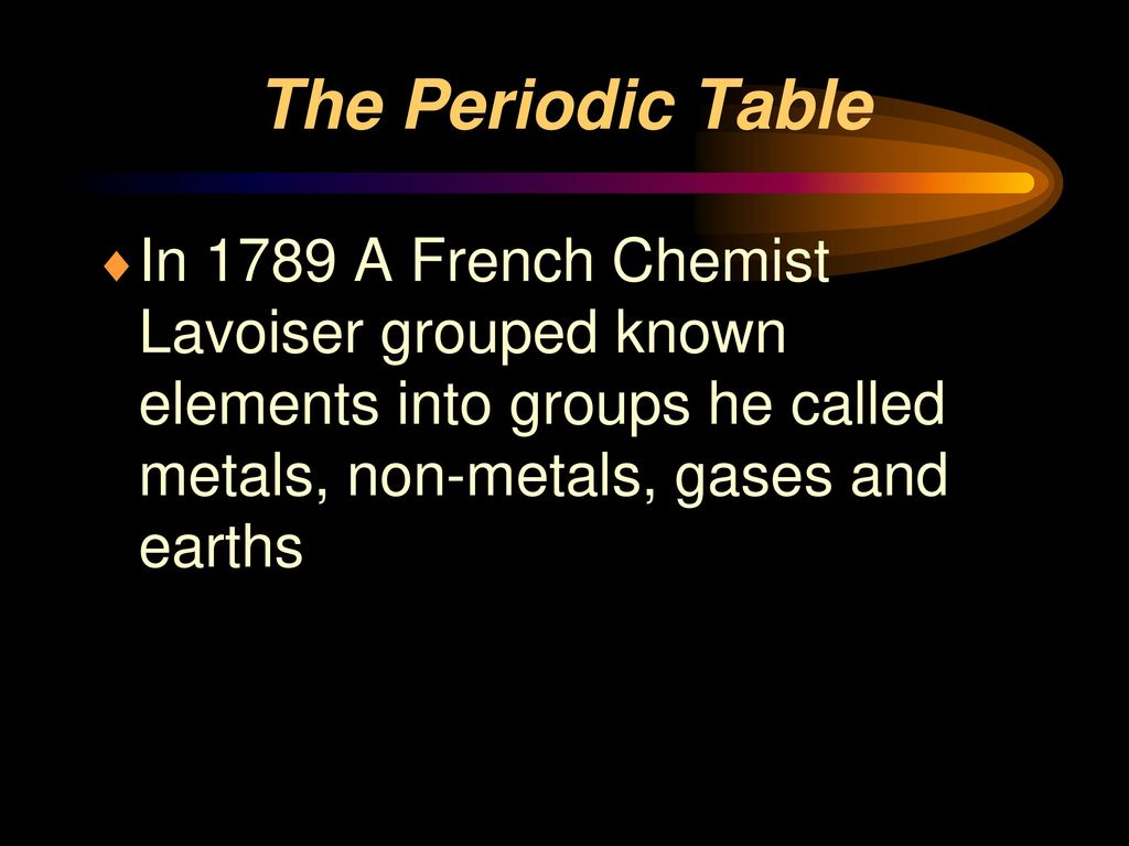 The Periodic Table Until 1750 Only 17 Known Elements Mainly Metals