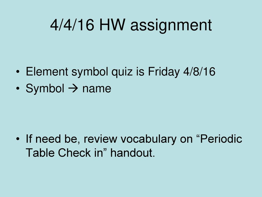 44 how did mendeleev order his periodic table ppt download 4416 hw assignment element symbol quiz is friday 48 urtaz Images