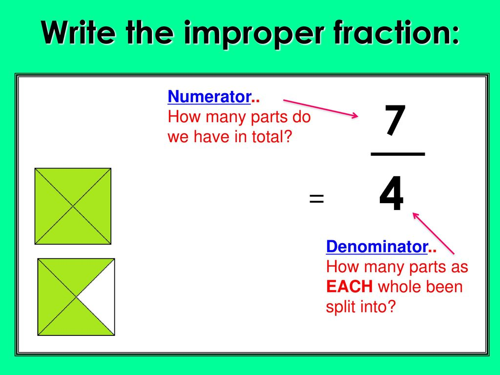 objectives lo: i can convert improper fractions to mixed numbers and