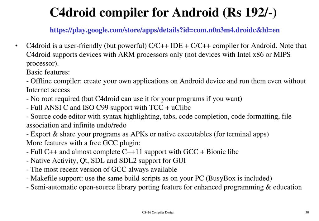 C4droid C C Compiler Amp Ide For Android Version 5 00