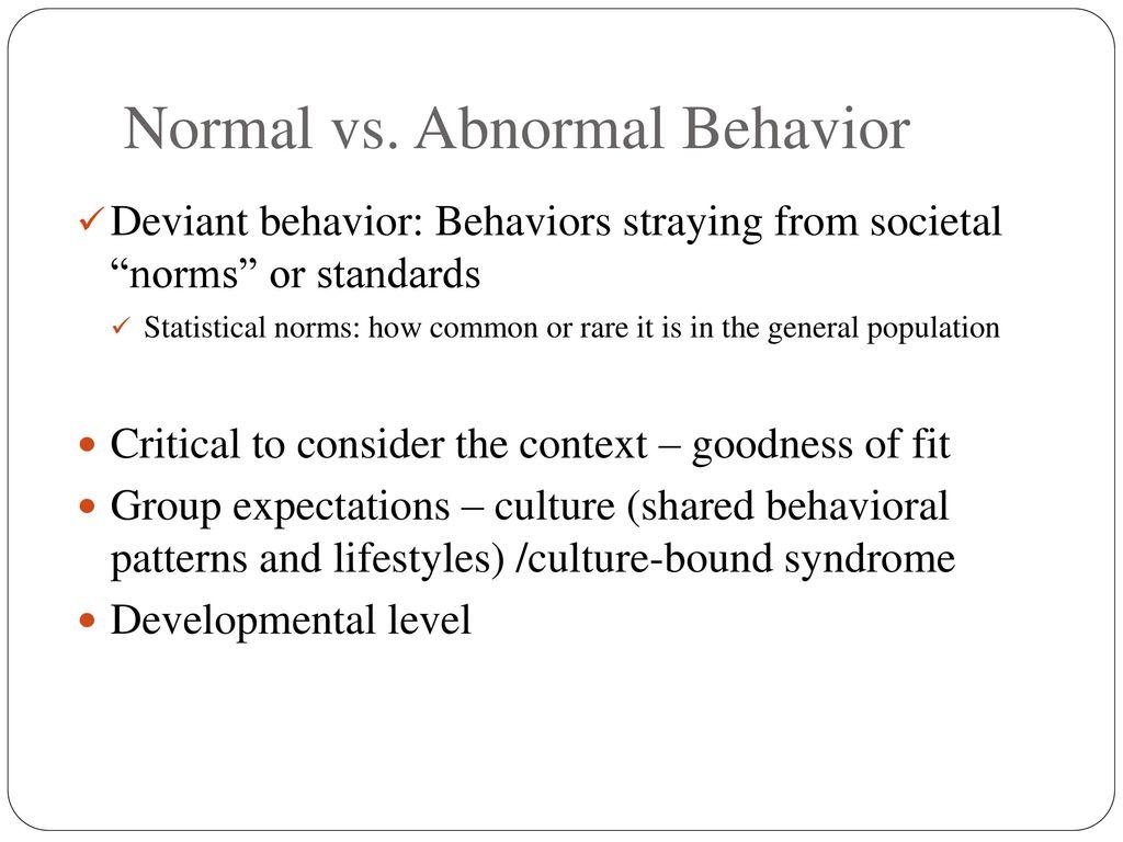 normal and abnormal behavior