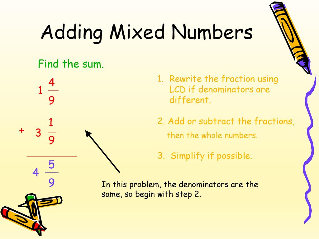 Adding & Subtracting Fractions & Mixed Numbers - ppt download