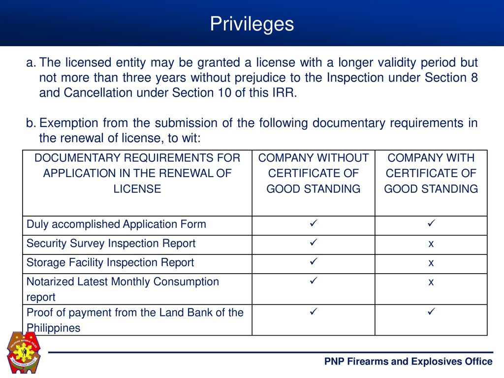 PROCESS FLOW OF APPLICATION OF PNP LICENSES AND PERMITS