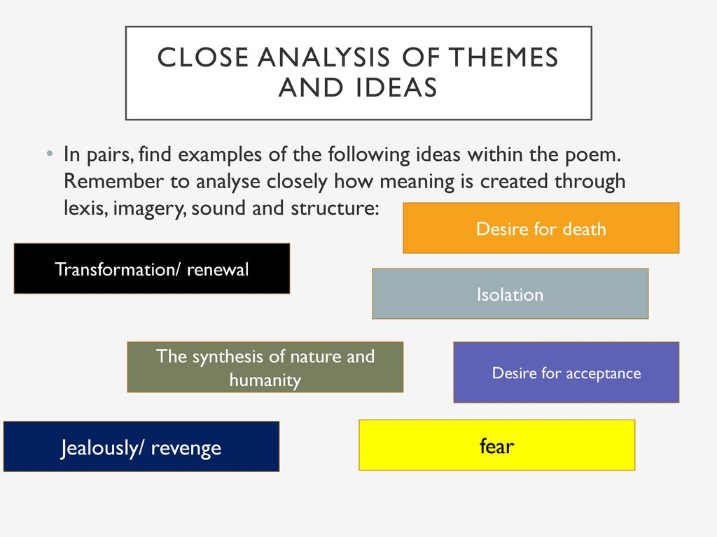 analysis of themes An analysis of theme in cynewulf's the dream of the rood reading a literary work is never free from an explanation about theme we realized that theme is main thing that we want to know.