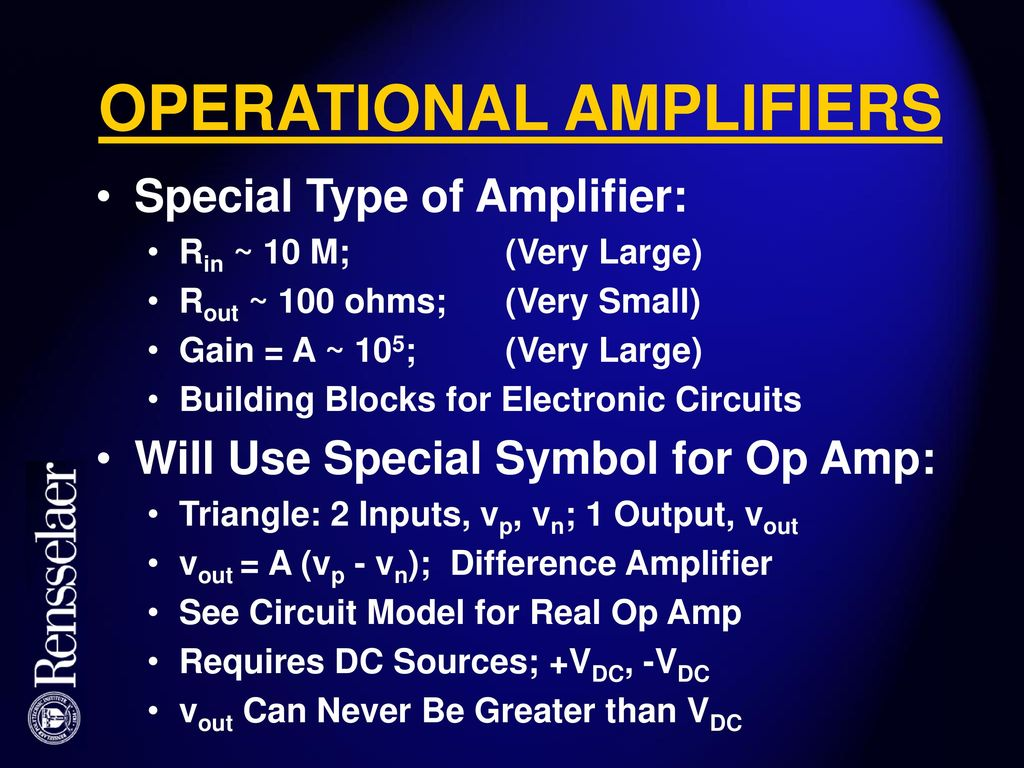 Electric Circuits Ecse 2010 Spring 2003 Class 9 Ppt Download The Building Blocks Of Electronic There Are Different Types 17 Operational Amplifiers