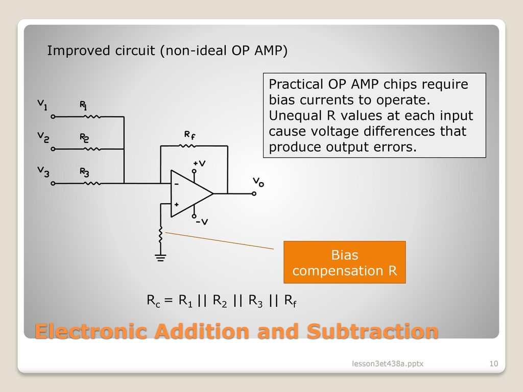 Lesson 3 Operational Amplifier Circuits In Analog Control Ppt Of The Op Circuit Is On Impedance Rc Series Diagram 10 Electronic Addition And Subtraction Improved