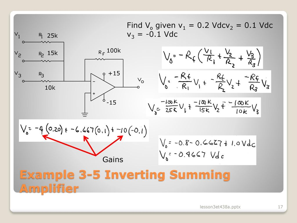Lesson 3 Operational Amplifier Circuits In Analog Control Ppt Supply Summing For Audio Mixer Circuit Schematic Diagram Example 5 Inverting