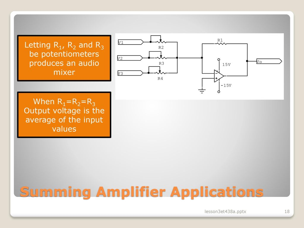 Lesson 3 Operational Amplifier Circuits In Analog Control Ppt Supply Summing For Audio Mixer Circuit Schematic Diagram Applications