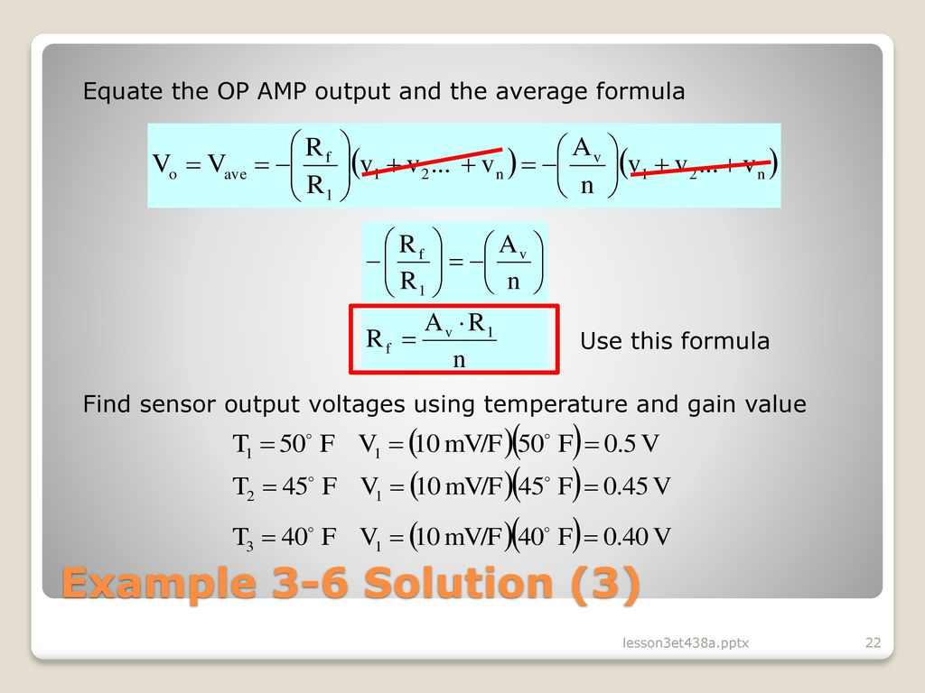 Lesson 3 Operational Amplifier Circuits In Analog Control Ppt Temperature Alarm With Op Amp Comparator Equate The Output And Average Formula