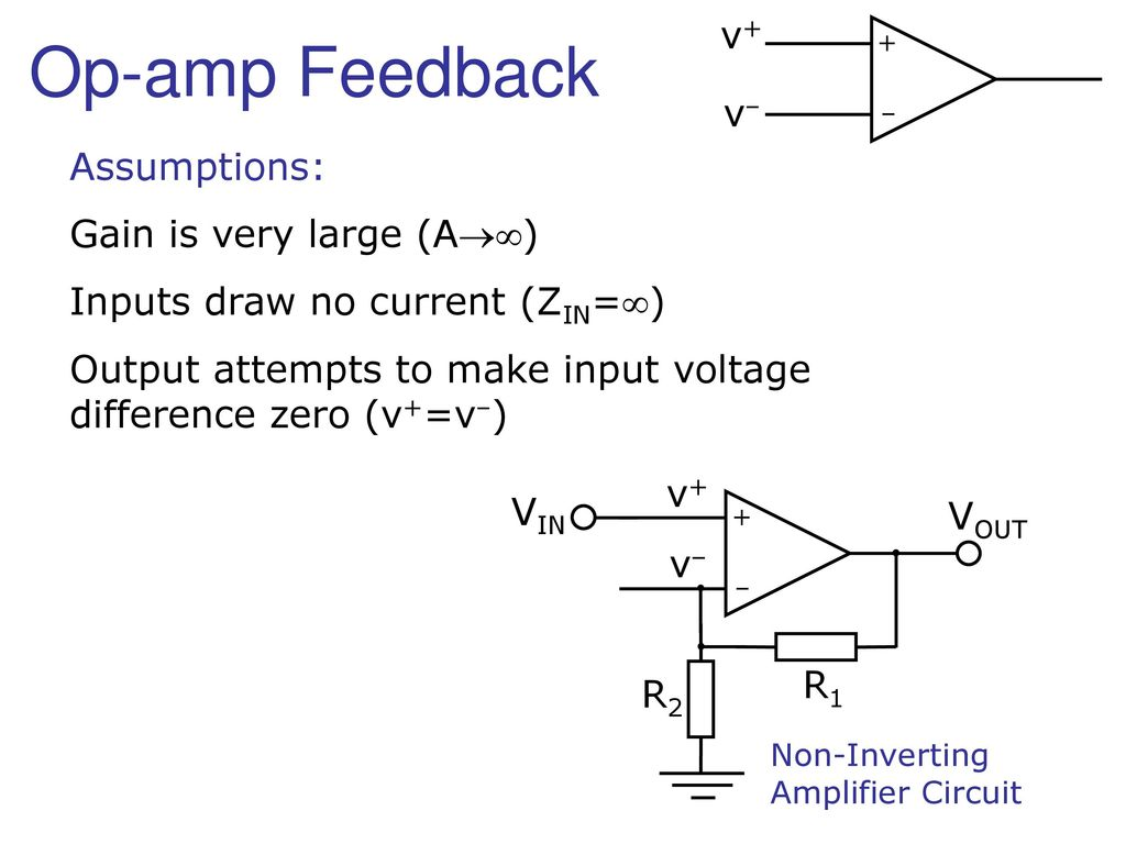 The Ideal Op Amp Operational Amplifier V Vout 15v Vin Non Inverting Circuit 3