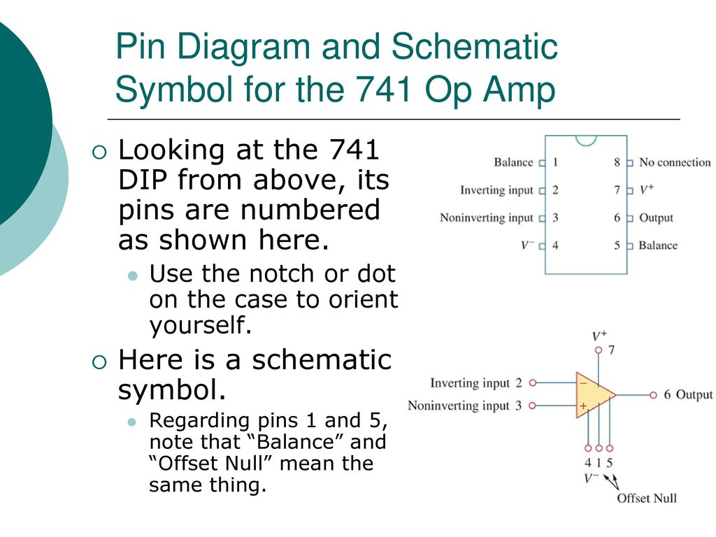 Egr 2201 Unit 7 Operational Amplifiers Ppt Download 741 Amplifier Circuit Pin Diagram And Schematic Symbol For The Op Amp