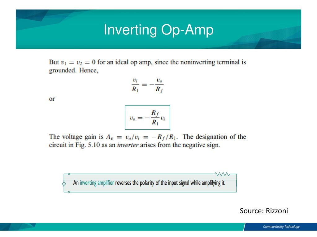 Electric And Electronic Technology Chapter 5a Op Amp Ppt Download Inverter Circuit Inverting 10 Source Rizzoni