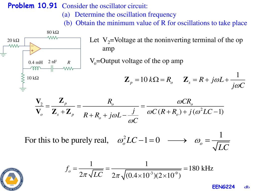 Problem If Vst Vm Sin T And Vot A Derive For The Circuit Also Determine Frequency Of Oscillations Consider Oscillator Oscillation