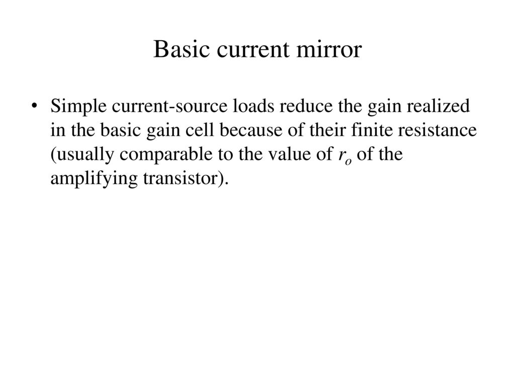 Unit V Ic Mosfet Amplifiers Ppt Video Online Download Current Source Is Shown In Figures 1 2 The Bjt Mirror Basic