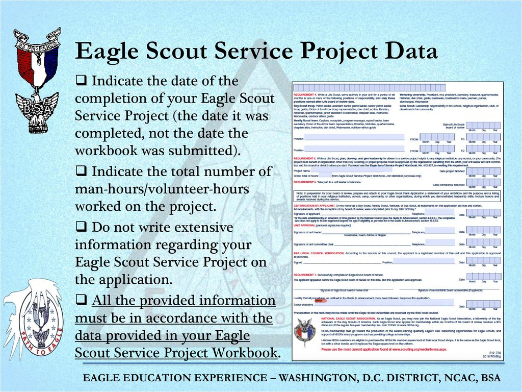 Workbooks eagle scout service project workbook : Completing the Eagle Scout Rank Application - ppt download