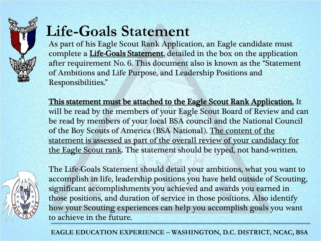 """eagle scout personal statement Sample """"life's purpose"""" statements  and academics – things any eagle scout should also find important  personal statement."""