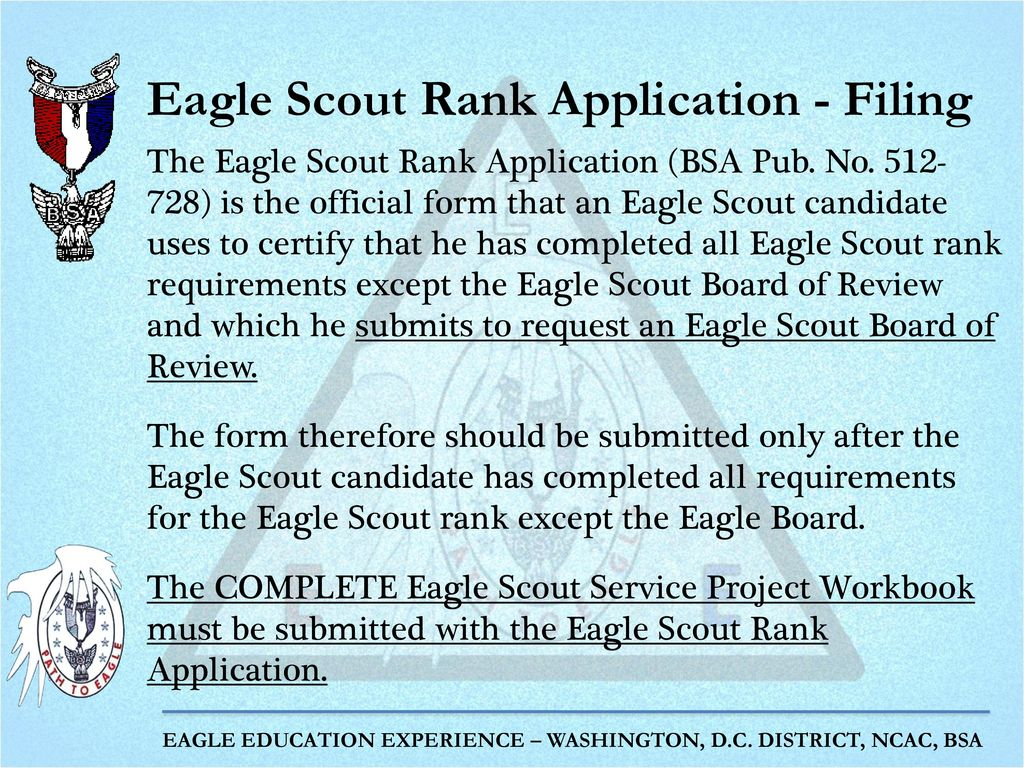Completing the Eagle Scout Rank Application - ppt download