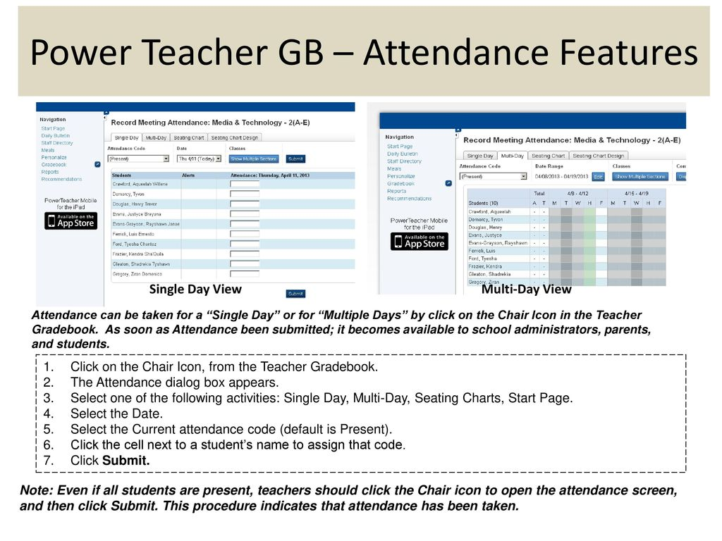 power teacher gb attendance features