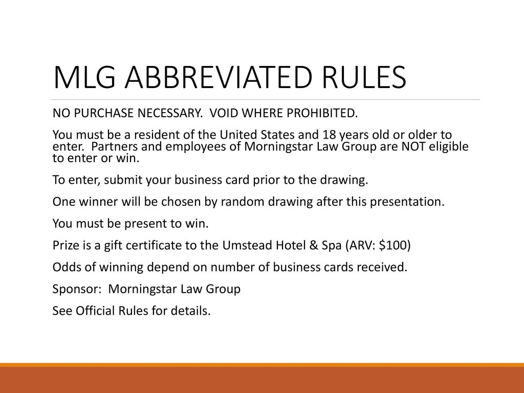 MLG ABBREVIATED RULES NO PURCHASE NECESSARY VOID WHERE PROHIBITED