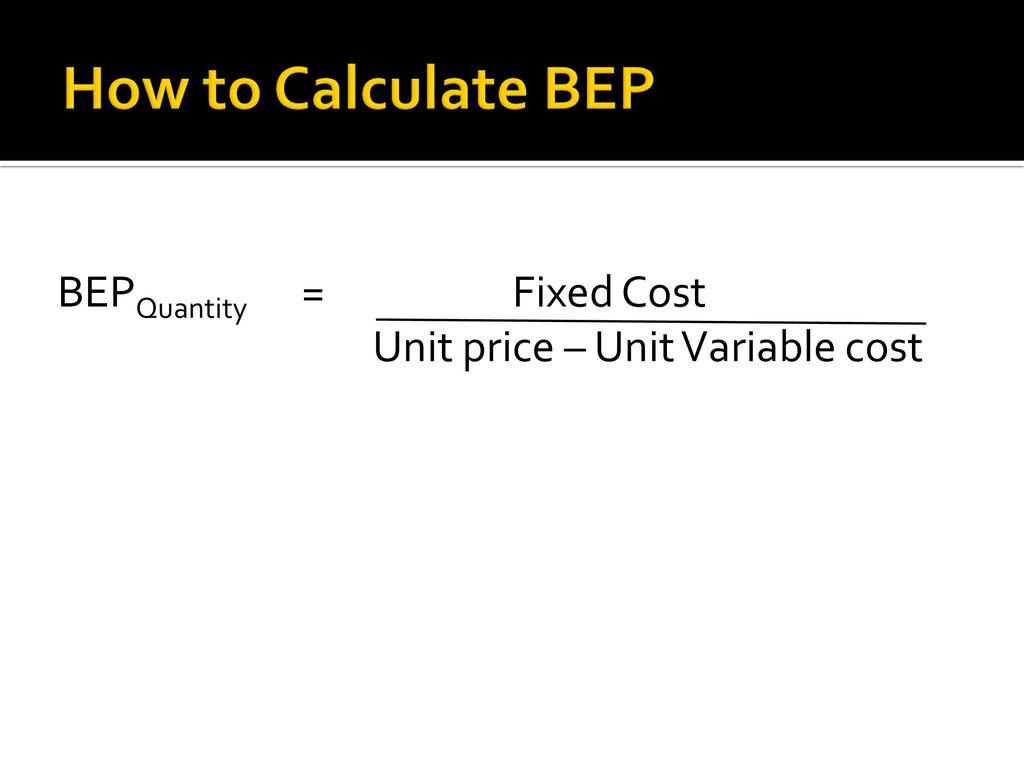 5 how to calculate bep bepquantity fixed cost unit price