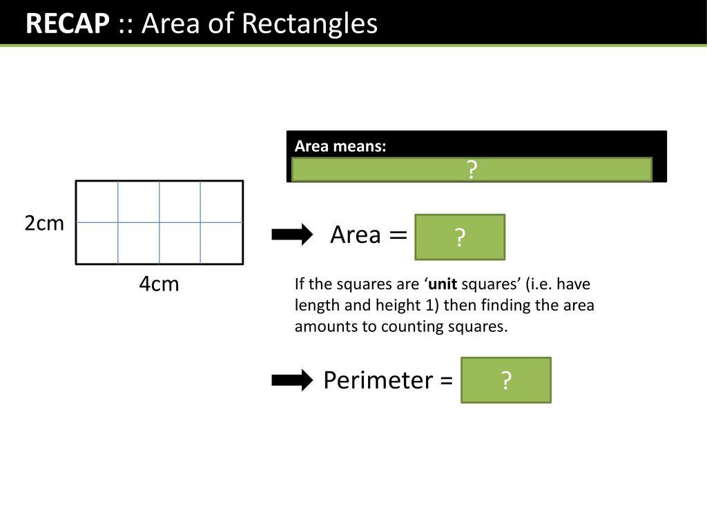 RECAP :: Area of Rectangles