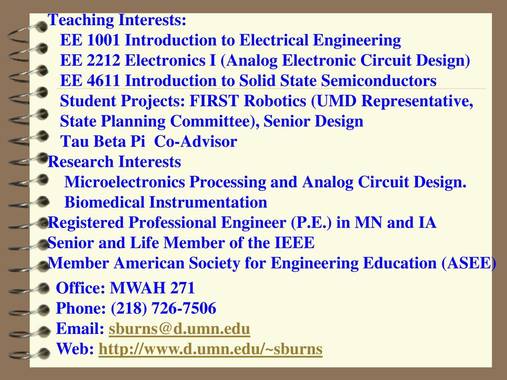 Faculty And Staff Department Of Electrical Engineering Ppt Download Electronic Circuit Design Job Description 3 Teaching Interests Ee 1001 Introduction To 2212 Electronics I Analog 4611 Solid
