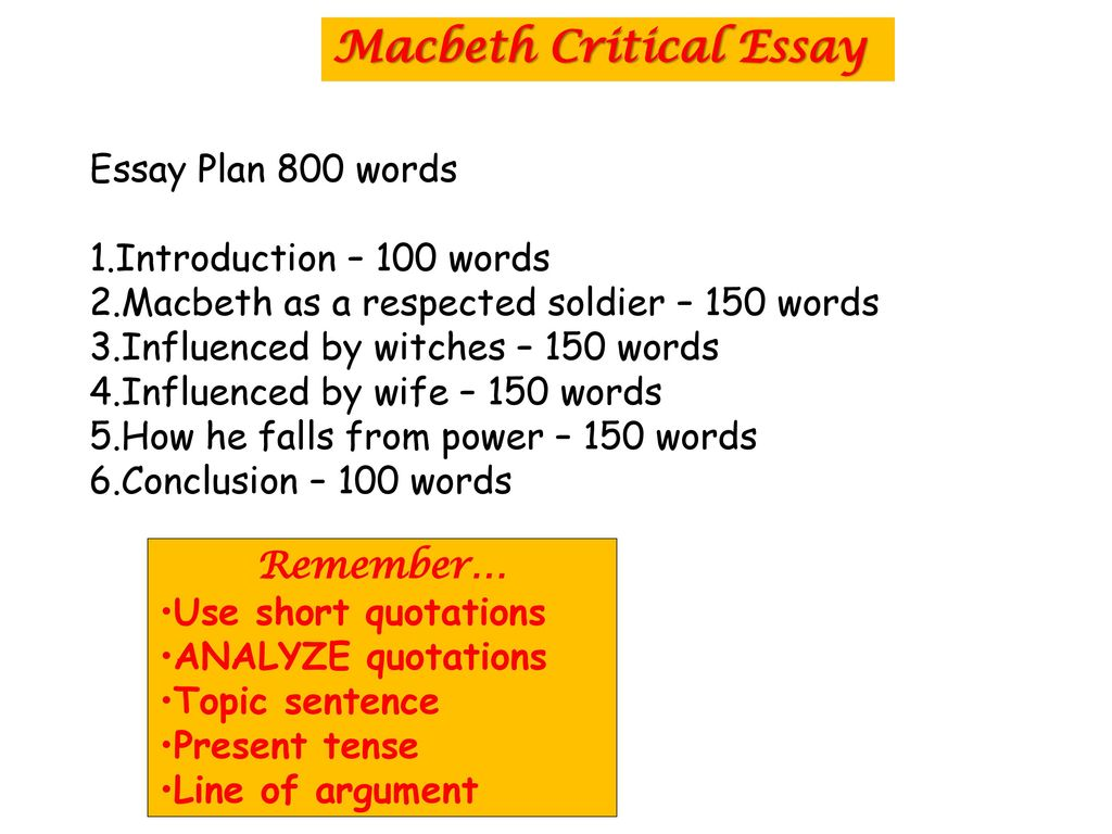 Proposal Essay Examples Macbeth Critical Essay English Essay Books also Persuasive Essays For High School Macbeth The Scottish Play  Ppt Download Essay For Science