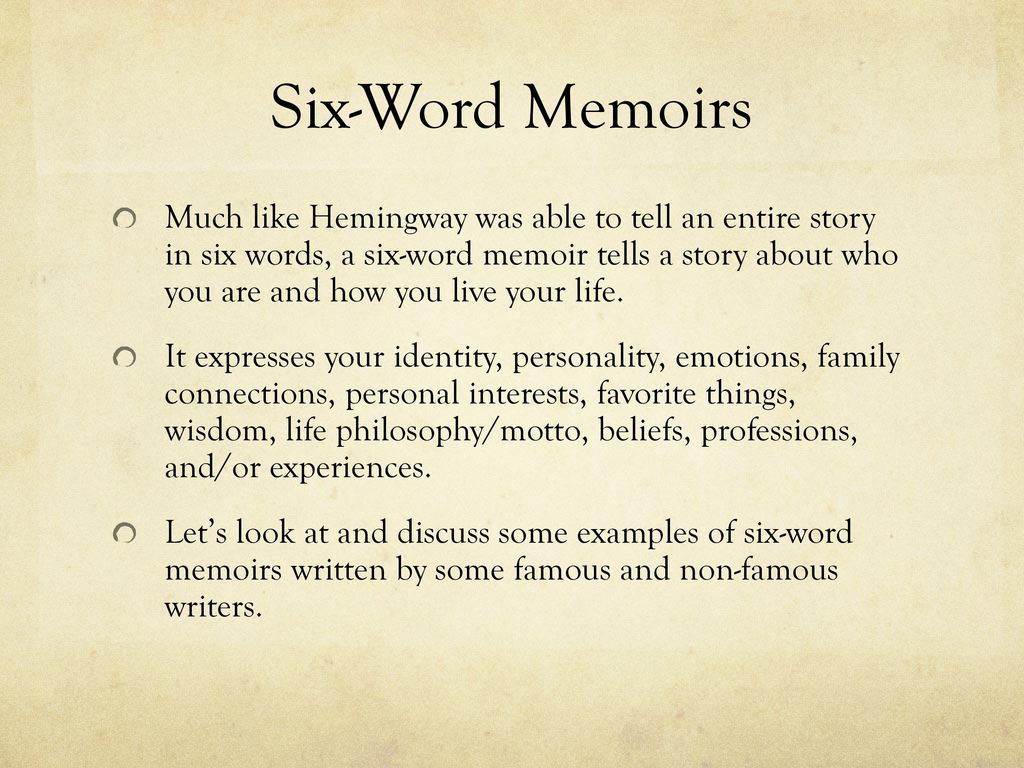 six word memoirs ppt download