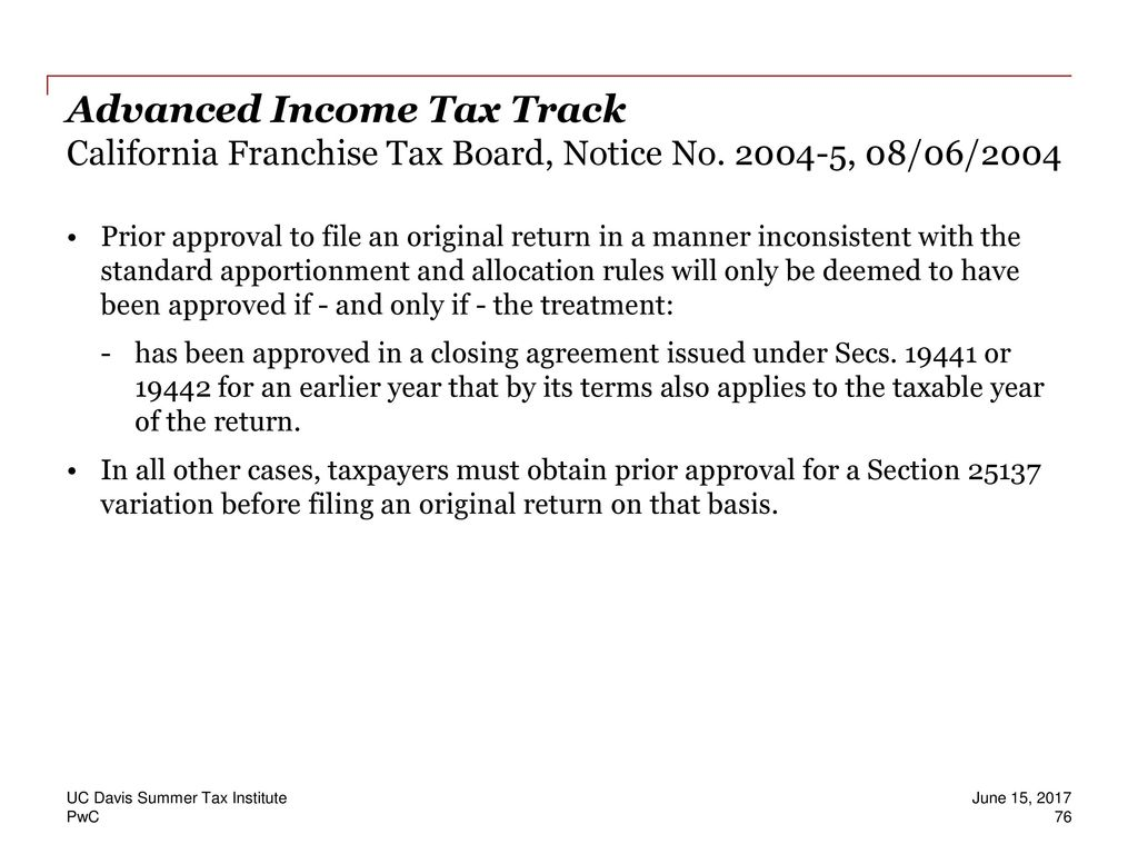 UC Davis Summer Tax Institute Advanced Income Tax Track