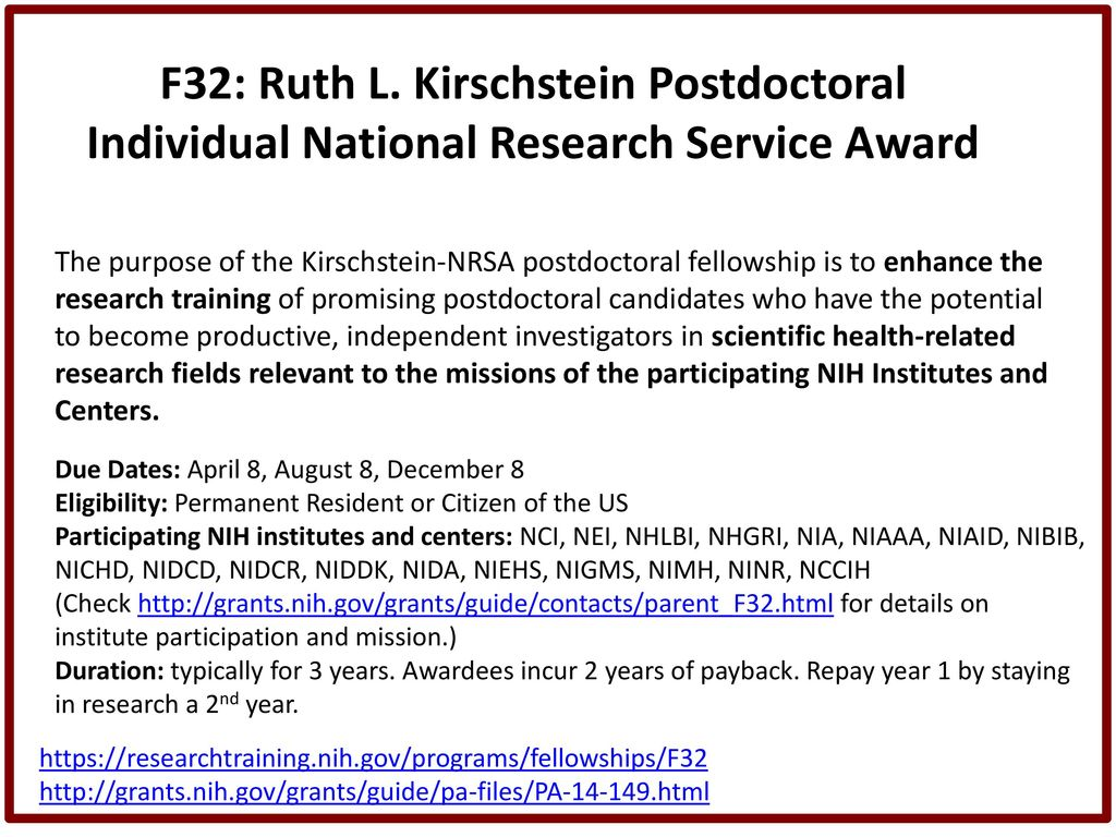 F32 Postdoctoral Fellowship Panel - ppt download