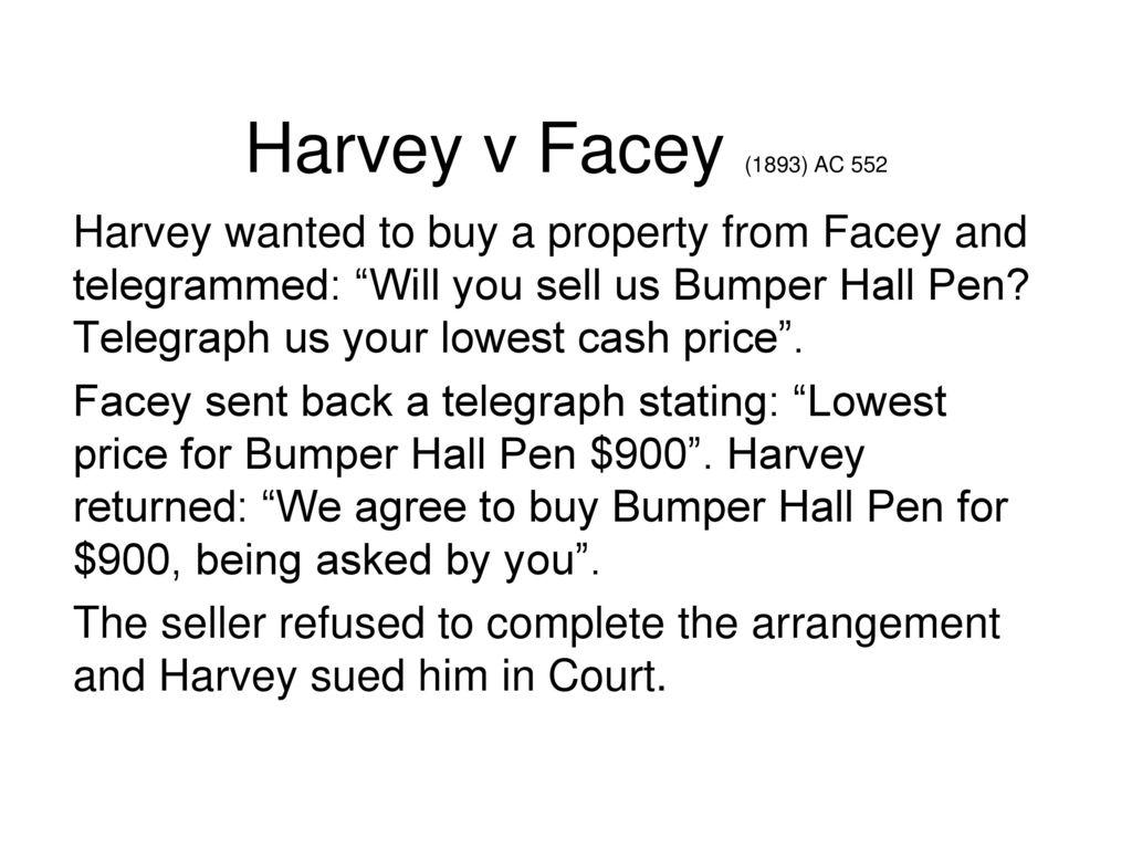 harvey v facey 1893