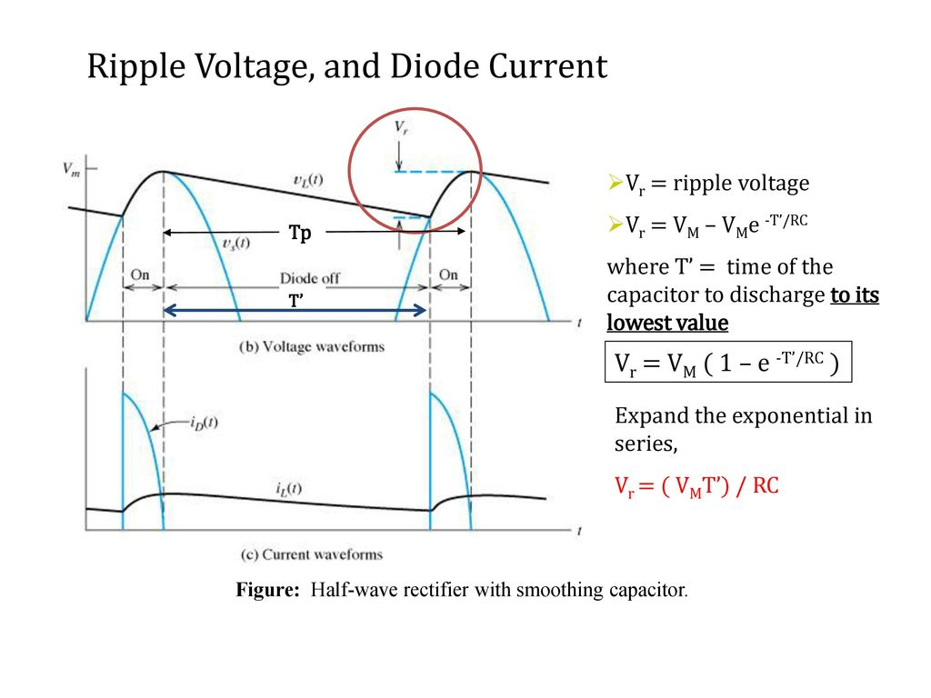 Recall Lecture 8 Full Wave Rectifier Parameters Ppt Download Circuit Of Figure Half With Smoothing Capacitor